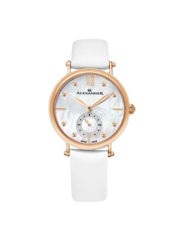 Alexander Women's Swiss Made Roxana White Satin Leather Strap Watch