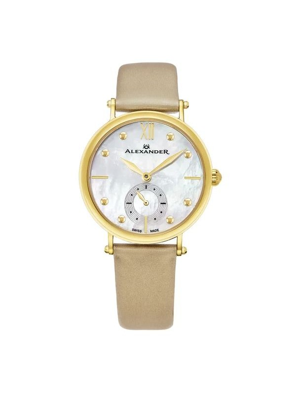 Alexander Women's Gold Tone Roxana Swiss Made Tan Leather Strap Watch