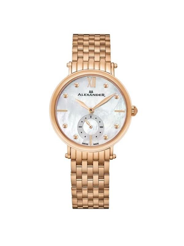 Alexander Women's Swiss Made 'Roxana' Rose Tone Stainless Steel Link Bracelet Watch