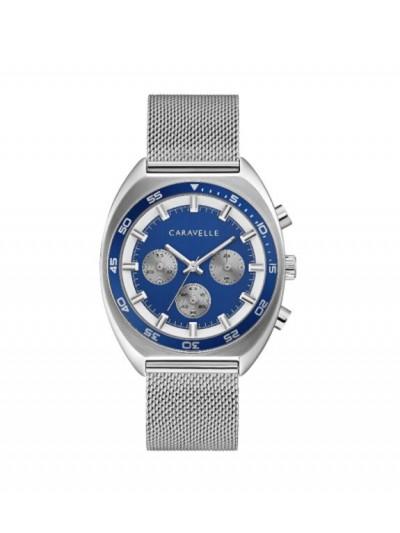 Caravelle by Bulova Mens 43K100 Stainless Chrono Blue Dial Interchangeable Bracelet Watch