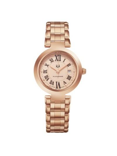 Alexander Women's Swiss Made Niki Rose Tone Stainless Steel Link Bracelet Watch