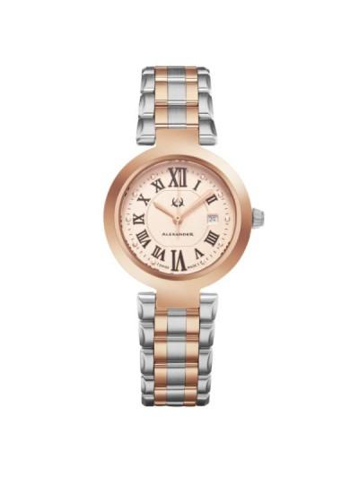 Alexander Women's Swiss Made Niki Two Tone Satinless Steel Link Bracelet Watch