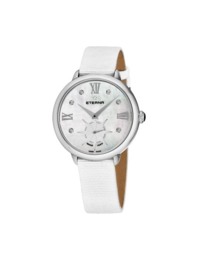 Eterna Women's 2801.41.66.1406 'Eternity' Mother of Pearl Diamond Dial White Gros Grain Strap Small Seconds Quartz Watch