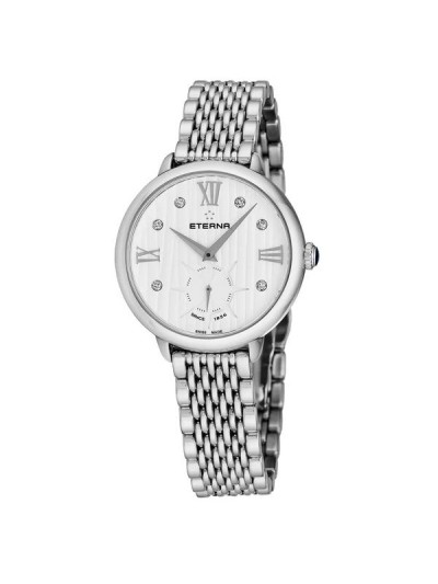 Eterna Women's 2801.41.96.1743 'Eternity' White Diamond Dial Stainless Steel Small Seconds Quartz Watch