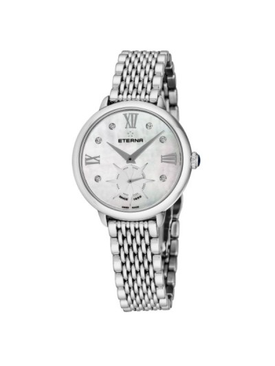 Eterna Women's 2801.41.66.1743 'Eternity' Mother of Pearl Diamond Dial Stainless Steel Small Seconds Quartz Watch