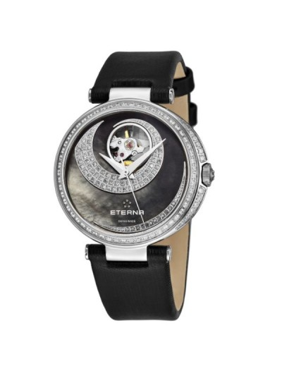 Eterna Women's 2943.54.89.1368 'Grace' Black Mother of Pearl Open Art Diamond Dial Black Satin Strap Automatic Watch