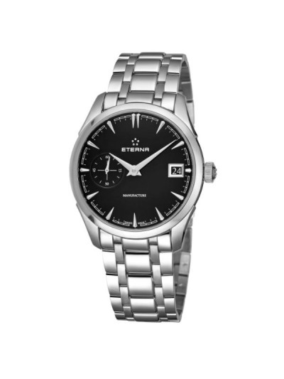 Eterna Men's 7682.41.40.1700 'Heritage' Black Dial Stainless Steel Small Seconds Automatic Swiss Made Watch
