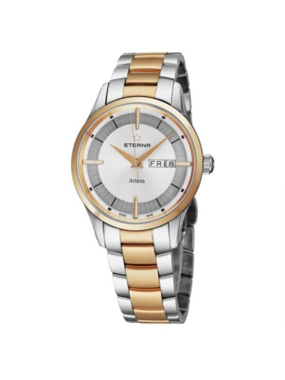 Eterna Men's 2525.53.11.1725 'Artena' Silver Dial Stainless Steel Two Tone Day Date Swiss Quartz Watch
