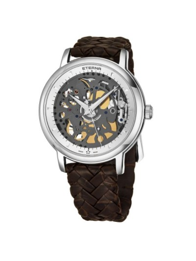 Eterna Men's 7000.41.10.1410 'Skeleton' Silver Dial Brown Leather Strap Swiss Automatic Limited Edition Watch