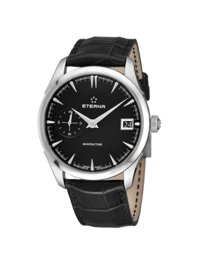 Eterna Men's 7682.41.40.1321 'Heritage' Black Dial Black Leather Strap Small Seconds Automatic Swiss Made Watch