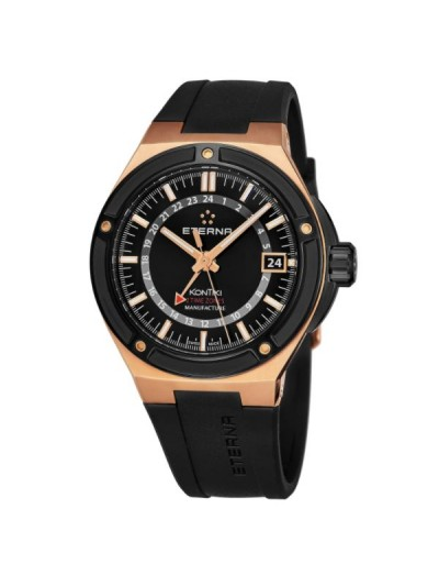 Eterna Men's 7740.63.41.1289 'KonTiki' Black Dial Black Rubber Strap Goldtone GMT Automatic Swiss Made Watch