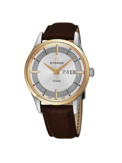 Eterna Men's 2525.53.11.1344 'Artena' Silver Dial Brown Leather Strap Two Tone Day Date Swiss Quartz Watch