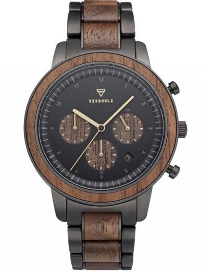 Chronograph Men's Wooden Watch Maximilian Walnut/Black