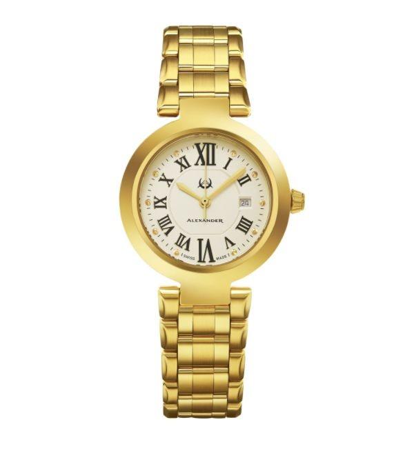 Alexander Women's Swiss Made Niki Gold Tone Stainless Steel Link Bracelet Watch