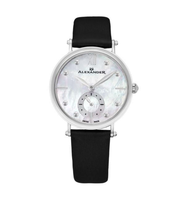 Alexander Women's Swiss Made Roxana Black Satin Leather Strap Watch