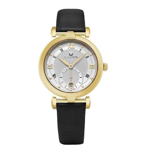 Alexander Women's Swiss Made Olympias Black Satin Leather Strap Watch