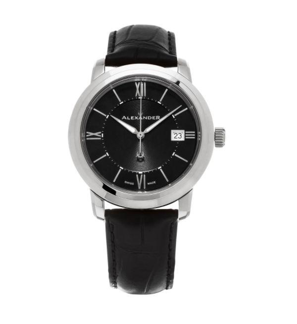 Alexander Men's 'Macedon' Black Dial Black Leather Strap Date Swiss Quartz Heroic Watch
